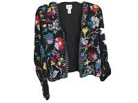 Chicos 2 Embroidered Beaded Jacket Blazer Embellished Floral Boho Womens Sz L