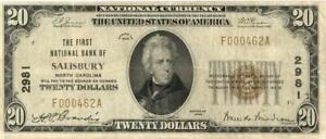 North Carolina Salisbury $20 First National Bank National Currency 1929 - Low SN
