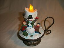 "Vintage Musical Snowman Candle w/Light Up Flame Plays ""8"" Songs"