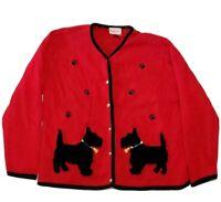 Crystal Kobe Women Sweater Cardigan Red Size M Dog Pawprints