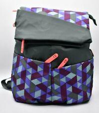 HEDGREN Pilates Backpack Bag Hobo Gray Purple Blue Geometric Travel Gym Rare