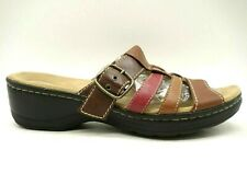 Clarks Multi-Color Leather Buckle Casual Heel Slide Sandals Shoes Women's 9 M