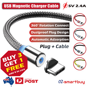 USB Charging Charger Cable 360° Magnetic Dustproof Light Fit Micro USB Type C
