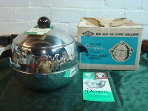 Vintage West Bend Penguin Hot Cold Server Ice Bucket Chrome w/ Bakelite Handles