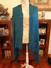 Civil War Ladies Shawl Scarf Stole Wrap �~ Jaclyn Smith Teal Blue