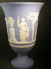 "Wedgwood Blue & White Jasperware 7 1/2"" Pedestal Vase Sacrifice Figures"