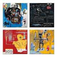 Quadri Basquiat 4 Pezzi Stampa su Tela con Telaio in Legno Arredamento Arte