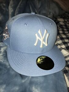 Exclusive NY Yankee Fitted Cotton Candy Blue Pink Brim NY 7 1/8 1/4 3/8 1/2 5/8