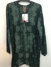 NWT JOHNNY WAS embroidered stars popover tunic shirt blouse S Pine green