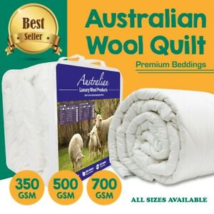 AUSTRALIAN WOOL Quilt Winter/Summer Duvet Doona 350/500/700GSM Weight ALL SIZE