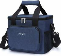 Large Lunch Bag Insulated Lunch Box Soft Cooler Cooling Tote 24-Can (15L) Blue