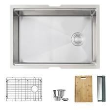 27 inch Workstation Single Bowl Undermount 16 Gauge Stainless Steel Kitchen Sink