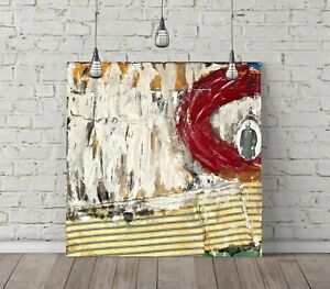 JACKSON POLLOCK 8 SQUARE CANVAS WALL ART FLOAT EFFECT/FRAME/POSTER PRINT-RED