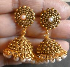 Antique Gold Plated Pearl Cute 3 cm Earrings Jhumka Wedding Party Jhumka Set