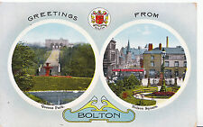 Lancashire Postcard - Greeting from Bolton - Queens Park - Nelson Square  U4239