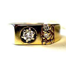 14k yellow gold mens .39cttw VS1 K diamond nugget ring gents 7.5g antique estate