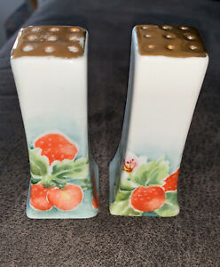 "Vintage Hand Painted Porcelain Salt & Pepper Shakers 3 1/2""T Signed & Dated 1958"