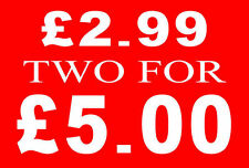£2.99 Two For £5 Pound Sale Rail Sign Card Retail Shop Display-High Quality