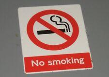 "Heavy Old Enamel Sign "" NO SMOKING "" - Bright Colourful Railwayana Train Station"