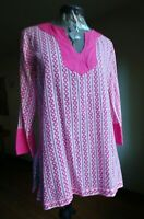 Gretchen Scott Long Sleeve Tunic Top Size Small Pink White Cotton With V Neck