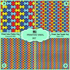 Autism Puzzle Pattern Htv, Printed Htv, Iron on Vinyl, Siser, Craft vinyl- 007
