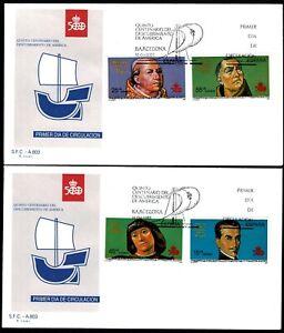2 Sobres primer dia España 1991 V Centenario Descubrimiento de America sellos