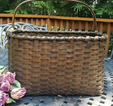 RARE Early Oak Splint FLOWER/DOOR Basket Large Antique Primitive GREAT COLOR