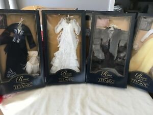 "LOT of 4 Franklin Mint TITANIC ROSE 16""Vinyl Doll ENSEMBLE Set all outfits NRFB"