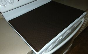 Glass Top Stove Cover and Protector Quilted Material Color Brown