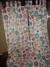 SPRINGS RETRO FLOWERS WHITE PINK GREEN AQUA (PAIR) TAB TOP PANELS 41 X 84 GROOVY