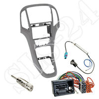 Opel Astra J Doppel-DIN Blende Radioblende Titangrau ISO KFZ Adapter Antenne Set