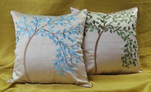BONSAI Tree Home Decor Faux Silk Floral Leaf Design Embroidered Cushion Cover