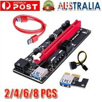 2/4/6/8 Extender Riser Card Adapter USB3.0 1x to 16x SATA 4Pin Cable PCI-E Expre