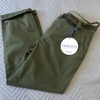 BNWT M&S Indigo Size 12 Med Ladies Cotton Chinos Trousers Khaki Cropped Belted