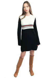 FREE PEOPLE Jumper Dress Size M Linen & Ramie Blend Ribbed Knit Long Sleeve