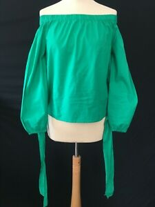 Primark Bardot top green cotton front or back tie 10