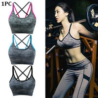 Women Seamless Underwear Fitness Yoga Sports Bra Stretch Workout Crop Top Vest
