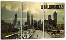 3-teilig 120x80cm Lein-Wand-Bild: The Walking Dead Atlanta City Skyline