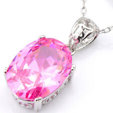 Artistic Oval Lovely Genuine Pink Fire Topaz Silver Necklace Pendant With Chain