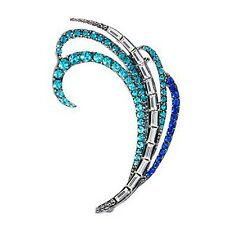 chic Jewel Blue crystal Rhinestone tail feather Ear stud Sliver Plated Earring