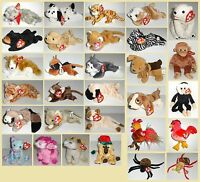 Mint Retired TY Animals Dog Cat Bear Spider Monkey Cassie Pugsly Amber Tuffy