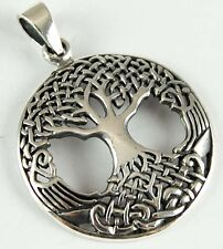 CELTIC TREE OF LIFE BEAUTIFUL SILVER 925 STERLING PENDANT LEATHER NECKLACE &BOX