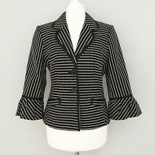 Coast Blazer 10 Black White Jacket 3/4 Flare Sleeve Formal Party Collar Button