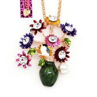 Colorful Enamel Crystal Flower Vase Pendant Betsey Johnson Necklace/Brooch Pin