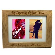Personalised Wooden Double Photo Frame Engraved Any Message C28-A4