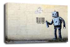 BANKSY Art Picture Graffiti Bar code Robot Love Peace Abstract Canvas Wall Print