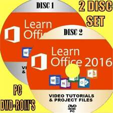 LEARN MICROSOFT OFFICE 2016 EASY VIDEO TRAINING NEW 2 X PCDVD WORD ACCESS &MORE