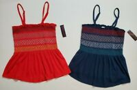 No Boundaries NOBO Juniors Smocked Tube Top *2 PACK* Red Blue XS 3/5 M 7/9 NWT