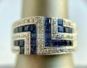 Modern And Sleek Engagement Wedding Men's Ring 14K White Gold 2.15 Ct Sapphire