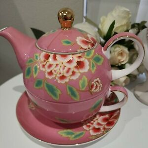 Pink/Red Flowers T2 Tea for One Teapot with Cup & Saucer